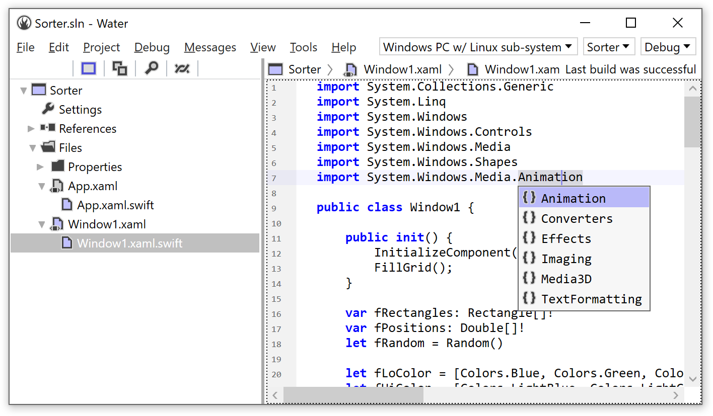 Water : Your Windows IDE for Elements | Elements